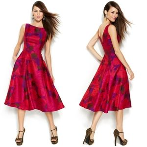 Adrianna Papell Rose Print Midi Dress Formal NWT